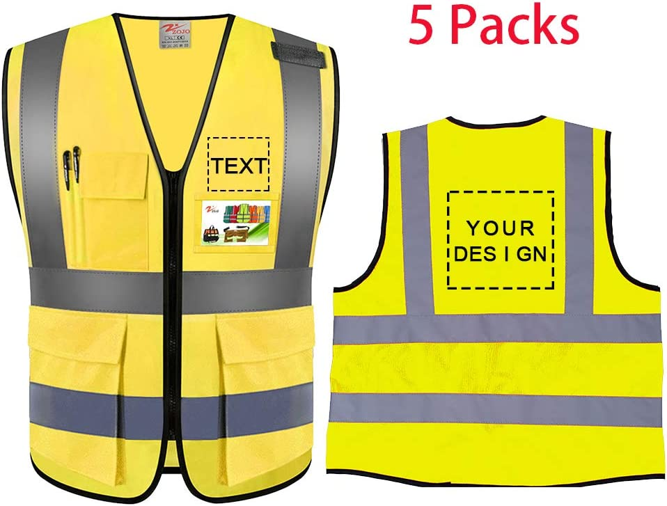 2XL Neon Yellow Zojo High Visibility Safety Vests with Pockets Custom Your Logo /& Design 5Pcs Protective Workwear with Reflective Strips Wholesale for Outdoor Work fit for Men /& Women