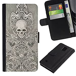 iBinBang / Flip Funda de Cuero Case Cover - Angel Death White Black Sketch Skull - Samsung Galaxy Note 4 SM-N910