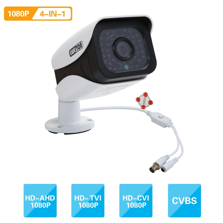 EWETON 1080P Hybrid Bullet Security Camera, HD 4-in-1 TVI/CVI/AHD/CVBS Waterproof Indoor/Outdoor Surveillance Camera 2.0MP 1920x1080, 36 LED 115ft Night Vision 3.6mm Lens UTC OSD by EWETON