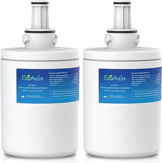 2x Aqua DA29-00003F Ice /& Water Fridge Filter to fit Samsung Aqua Pure PLUS
