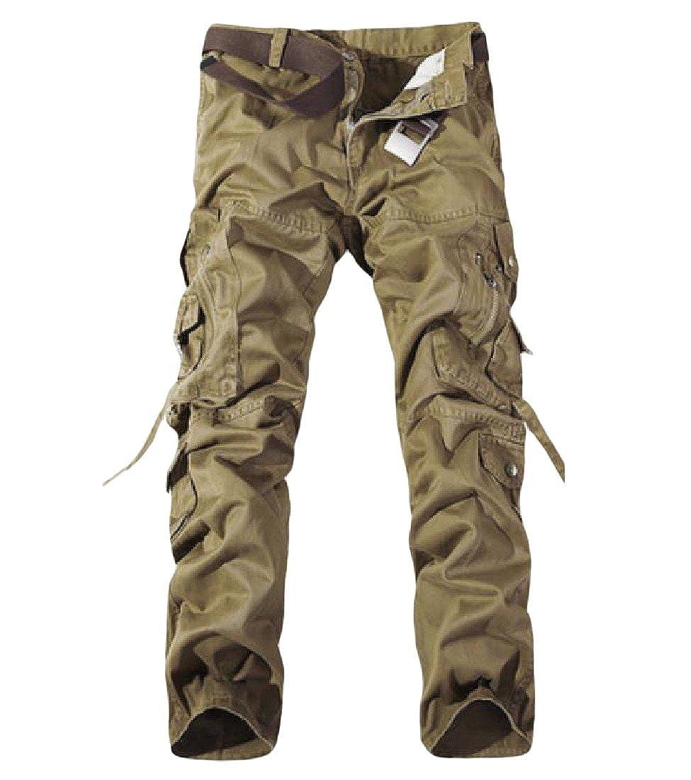 YUSKY Mens Plus-size Loose Fit Pure Color Wild Combat Work Pants