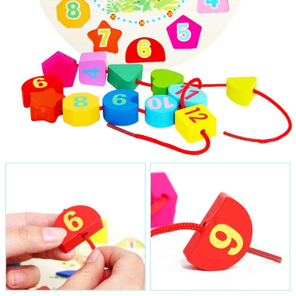 Spielzeuguhr TrifyCore Lernuhr Lernspiel f/ür Kinder und Babys Holzspielzeug f/ür Kinder
