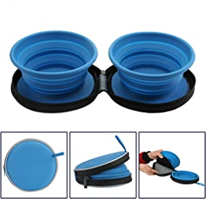 Mogoko Food-Grade Silicone Collapsible Dog Bowl Set, BPA Free Expandable Pet Food Water Feeding Cup Dish with Case for Outdoors Travel Camping Hiking(2 Pack)