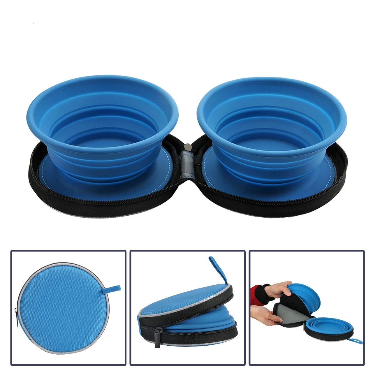 Mogoko Food-Grade Silicone Collapsible Dog Bowl Set,BPA­ Free Expandable Pet Food Water Feeding Cup Dish with Zipper Pouch for Outdoors Travel Camping Hiking(2 Pack) by Mogoko