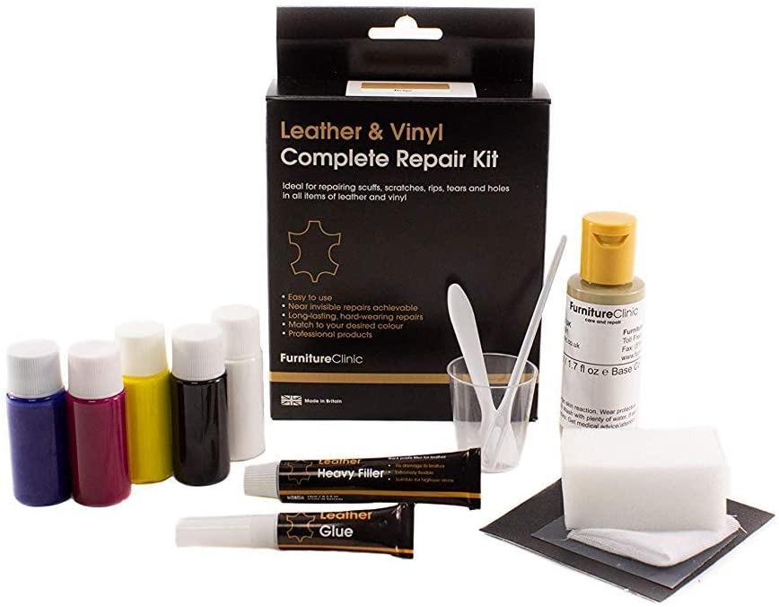 Furniture Clinic Leather & Vinyl Repair Kit - Best Leather Repair Kit for Couches, Car Seats & Furniture - Fix Damaged Vinyl, Leather - Quickly Repair Rips, Holes, Tears & Burns - (Medium Brown)