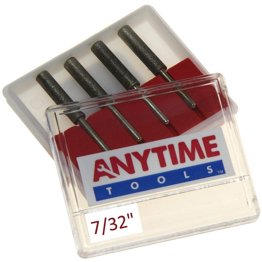 "Anytime Tools 7/32"" Diamond Chainsaw Sharpener Burr 1/8"" Shank, 4 Pack"