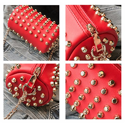 Chain Mini Ladies Blue Tote Rivet Shoulder Purse Women Messenger Crossbody JAGENIE Bag Bag Red ngHWC