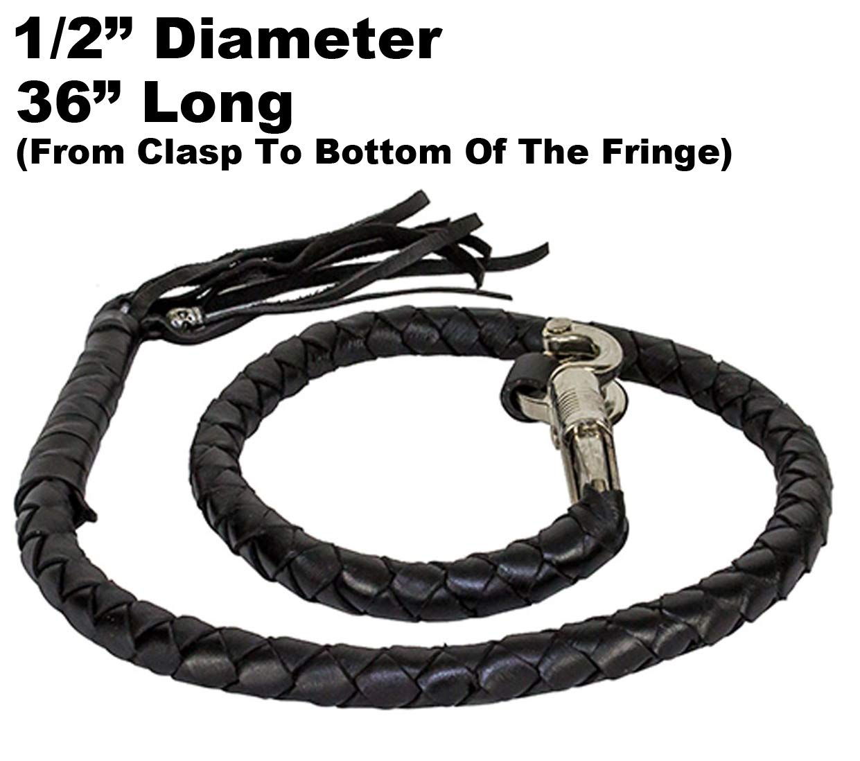 All Black 36 Long 1//2 Diameter Naked Soft Genuine Leather Motorcycle Get Back Whip