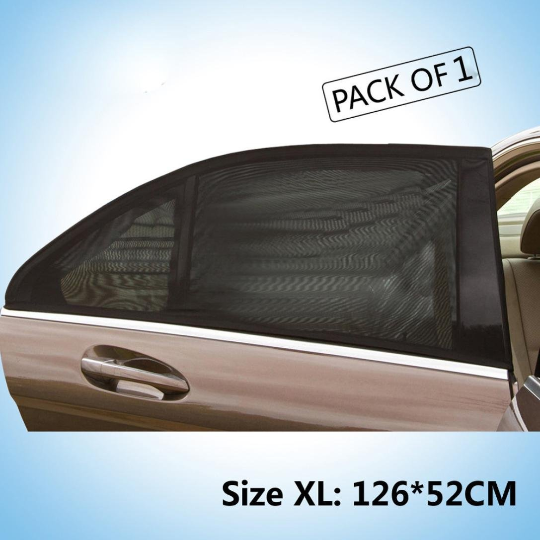 Glumes Car Shades For Side Windows|52 x126 CM | Easy & Effective Way To Block Sun Glare, Harmful Heat, And UV Rays From Your Baby Child Or Pet's Eyes While Inside Auto | Black Mesh Design 2Pcs (Black)