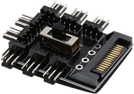 Shiwaki SATA Power 8X 4Pin Macho PC PC Fan HUB PWM Controlador De ...
