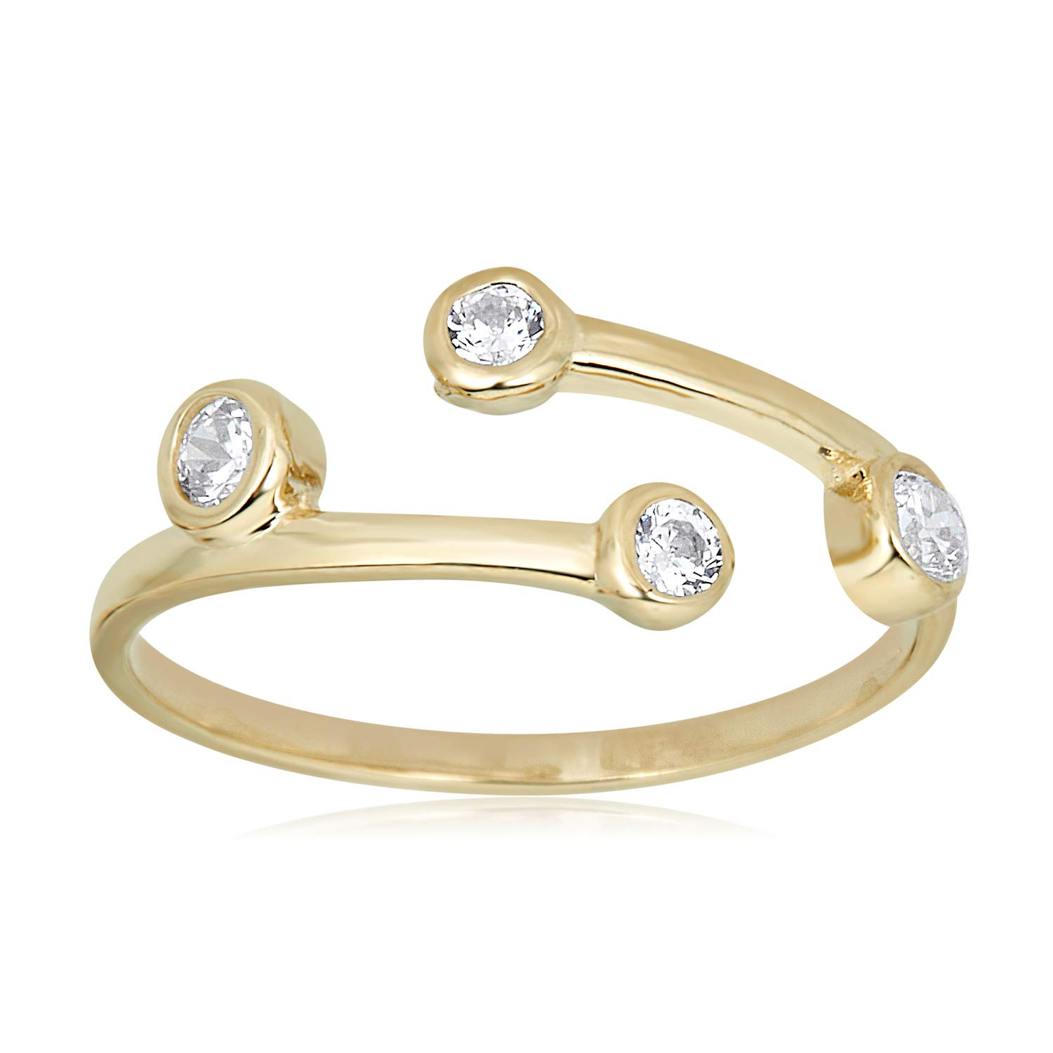 AVORA 10K Yellow Gold Adjustable Bypass Toe Ring with Bezel-Set Simulated Diamond CZ by AVORA