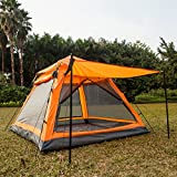 quest canopy walls 10x10 - Instant 4 Person Hydraumatic Large Dome Tent Double Layer 2-Door Opening Screened Family Camping Canopy Shelter Tent (82'' x 82'' x 53'') Orange