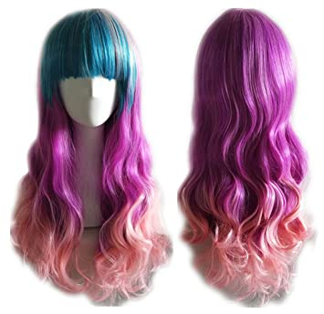 Blue//Rose//Pink AneShe 27.5 Womens Long Curly Hair Harajuku Style Heat Resistant Hair Wigs for Cosplay//Party