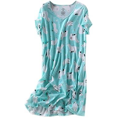 ENJOYNIGHT Womens Cotton Sleepwear Short Sleeves Print Sleepshirt Sleep Tee  (Bear 82ceb5a74