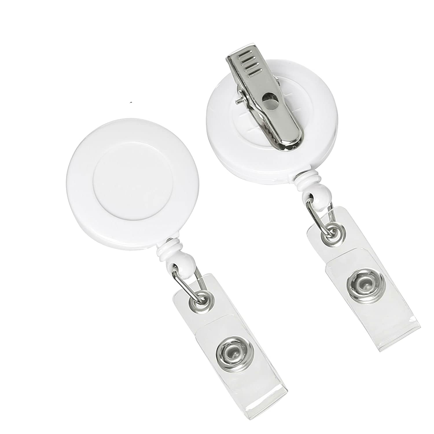 Retractable Badge Holder ID Card Holder Reel with SWIVEL-BACK Alligator  Clip White Pack of 10
