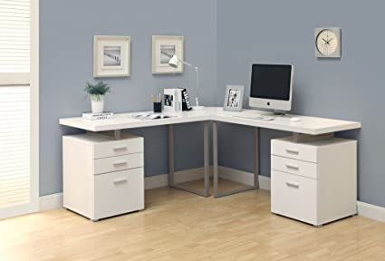 Superbe Modern White L Shaped Double Pedestal Office Desk With Floating Top