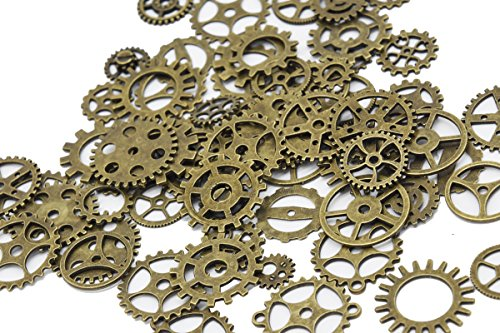 Youkwer 100 Gram Assorted Antique Steampunk Gears Charms Pendant Mixed Clock Watch Wheel Gear for Jewelry Making and Crafting Bronze from Youkwer