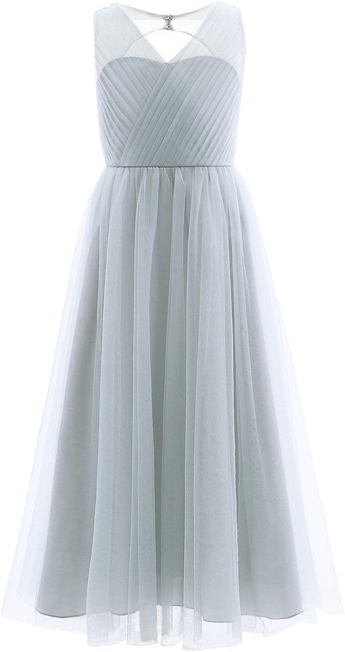 iEFiEL Kinder Mädchen Festliche Kleider Brautjungfer Hochzeits Kleid  Blumenmädchenkleider Partykleid Festzug 13-13 Grau 13-13