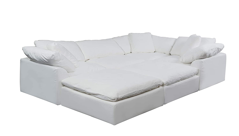 Amazon.com: Sunset Trading Cloud Puff Sectional Sofa, White ...