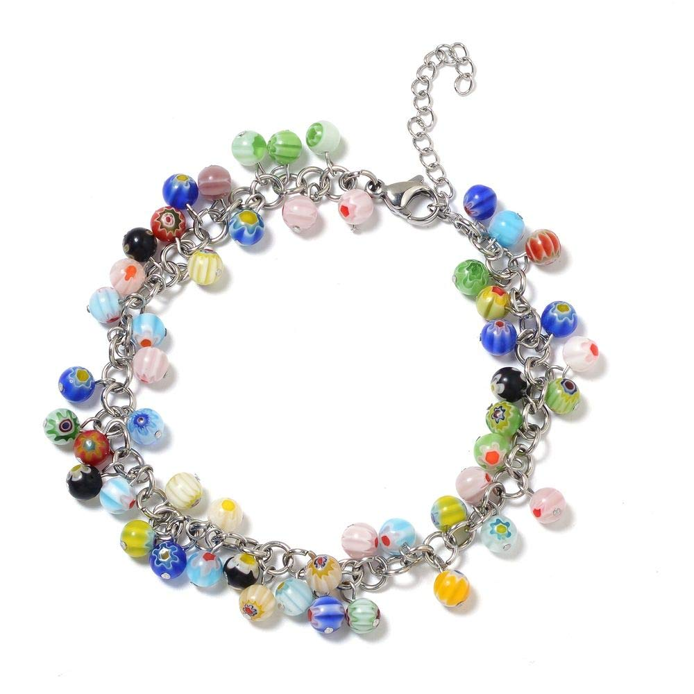 TJC Murano Glass 75.00 Ct Stainless Steel Anklet 75 Ct 3087253