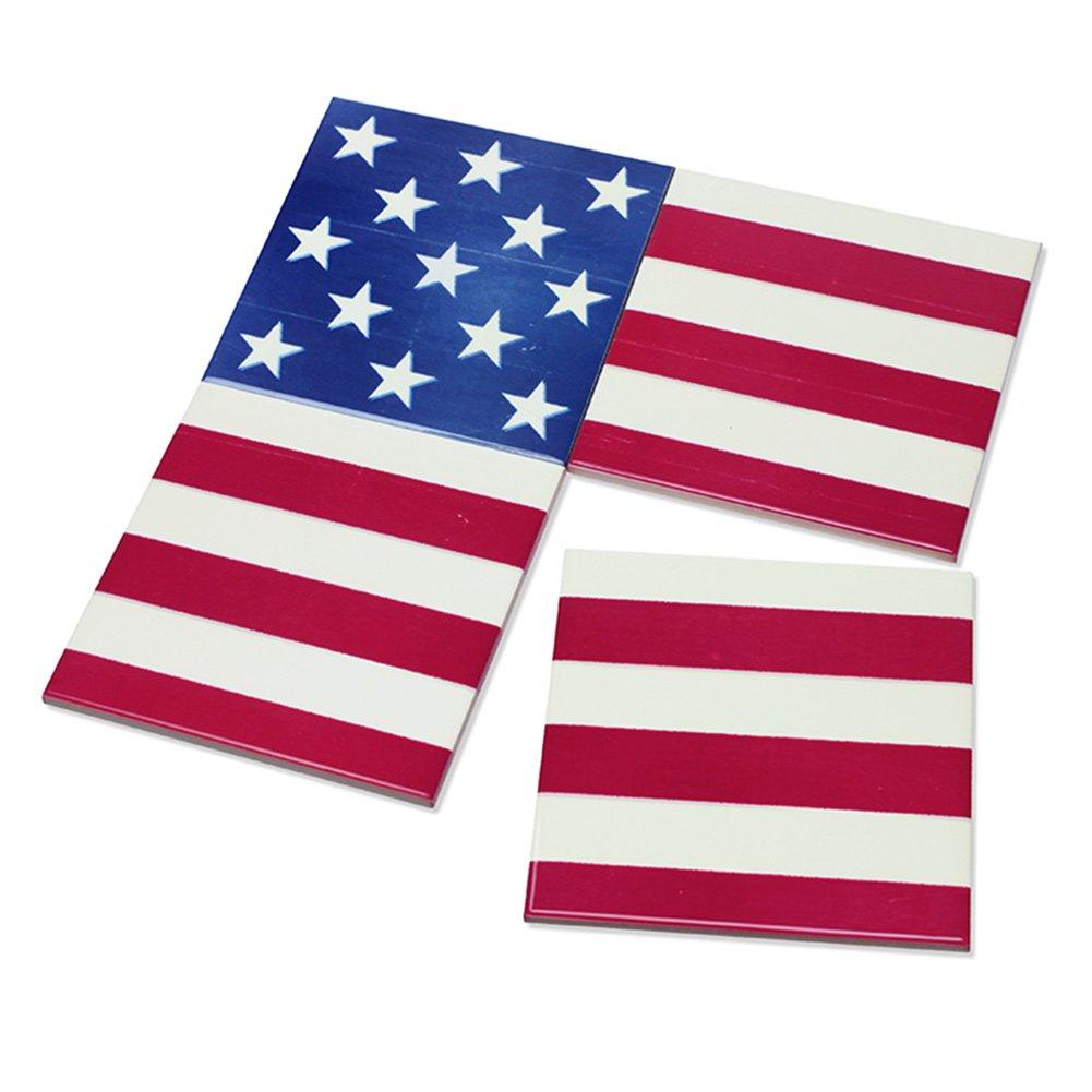 4pcs印刷国フラグキッチン、ダイニング&バードリンクセラミックホームインテリアコースター – 4のセット  USA B075ZZKQDV