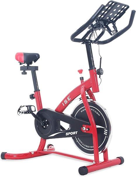 ISE Bicicleta Estática de Spinning con Sensor de Pulso, Ajustable Resistencia, Bicicleta para Fitness Profesional de Gimnasio Ejercicio con Gran Soporte Adecuado para iPad&Móvil, Rojo, SY-7804S: Amazon.es: Deportes y aire libre