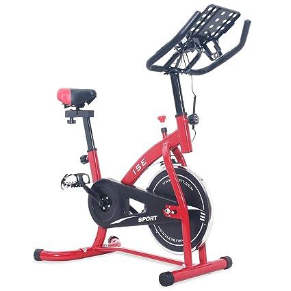 ISE Bicicleta Estática de Spinning Profesional con Sensor de Pulso, Ajustable Resistencia, Pantalla, Bicicleta Fitness de Gimnasio Ejercicio con ...
