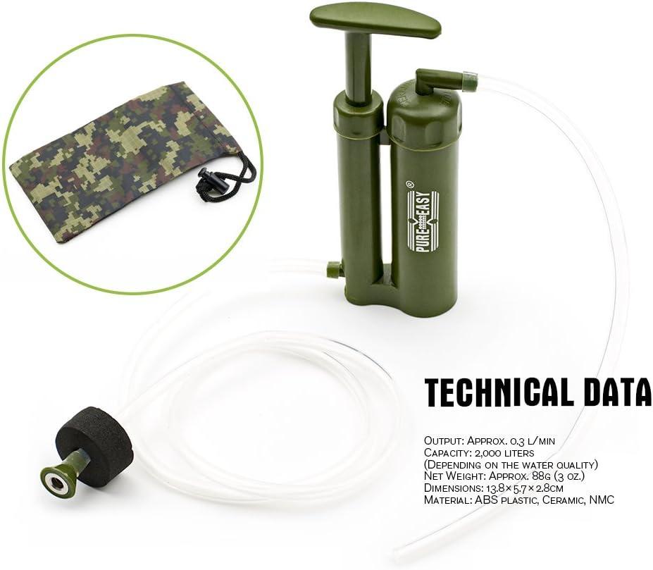 Pureeasy senderismo supervivencia de emergencia port/átil purificador de filtro de agua de cer/ámica de viaje al aire libre Camping membranas l/áser soldado purificador de agua