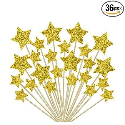 Amazon.com: 36 piezas Twinkle Star Cupcake Toppers DIY ...