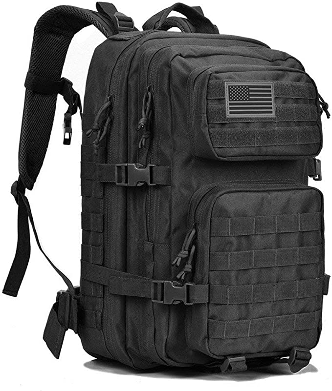 Image of a black tactical backpack with molle webbing straps