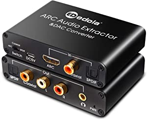 HDMI ARC Adapter & DAC Converter, edola HDMI ARC Audio Extractor Adapter & DAC Converter Selector with Digital Optical Toslink Coaxial and Analog 3.5mm L/R Stereo Audio for HDTV Speaker Home Theater