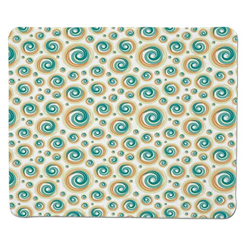 (SCOCICI Gaming Mouse Pad with Stitched Edges,Trippy Paint Brush Rotary Spiral Circle Patterns Hazy Tiles Picture,Non-Slip Rubber Base Mousepad for Laptop,Computer & PC 11.8x9.8 inch)