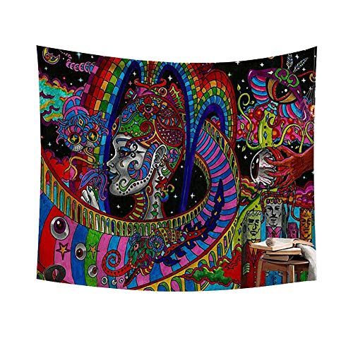 Chengsan Psychedelic Tapestry,Abstract Unusual Figure with Color and Form Details Hippie Arabesque Retro Pattern, Wall Hanging for Bedroom Living Room Dorm -