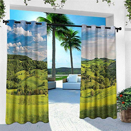 Returiy Tuscany, Outdoor Curtain Grommet, Tuscany Italy Sunlight Homestead Plantation Farms Pathway Greenery Print, for Gazebo W108 x L108 Inch Sky Blue Apple Green