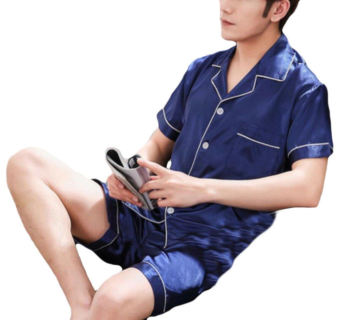 Spirio Mens Buttons Shirts and Shorts 2 Pieces Sleepwear Satin Silk Pajama Set