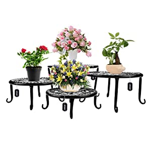 Metal Plants Stand Flowerpot Holder Iron Art Pot Holder, AISHN Flower Pot Supporting Indoor Outdoor Garden Pack of 4pcs with Different Size