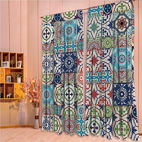 franlinkcossosoph Polyester Window Drapes Kitchen Curtains,Moroccan,Patchwork Pattern from Colorful Moroccan Tiles Traditional Decorating Illustrations,Navy Red,84.3