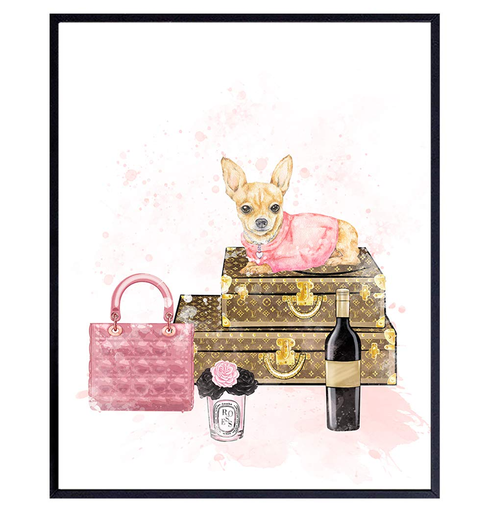 Glam High Fashion Design Wall Decor - Cute Chihuahua Coco Couture Designer Handbag Art Decoration for Womens Bathroom, Girls Room, Teens Bedroom, Fashionista - Luxury Fashion Gift - Pink