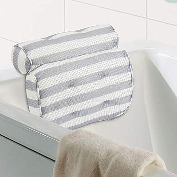 HALOViE Almohada de Baño Almohada para bañera Cojín con 6 ventosas Antideslizante Ergonómico 3D Malla reposacabezas para Cabeza Cuello Espalda SPA ...