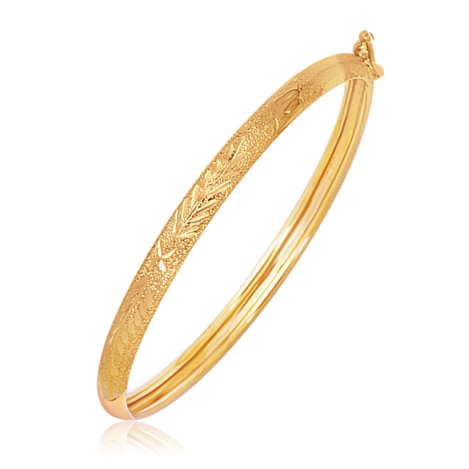 Jewels By Lux 14k Yellow Gold Diamond Cut Motif Dome Style Childrens Bangle