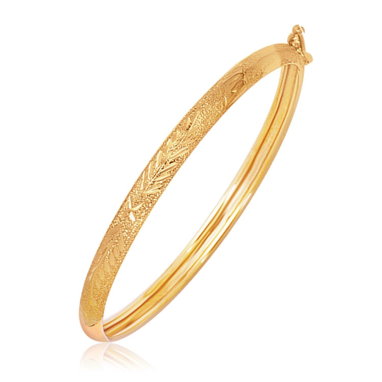 14K Yellow Gold Diamond Cut Motif Dome Style Children's Bangle