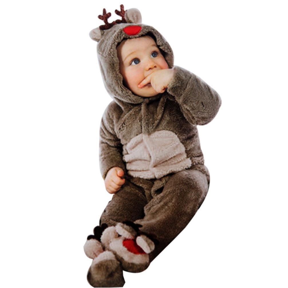 Landove - Mono de Navidad para bebés, niña, unisex, de franela, de manga larga con capucha. Mono de reno, pijama de animales, disfraz L (Per Altezza 80cm) Renna Marrone
