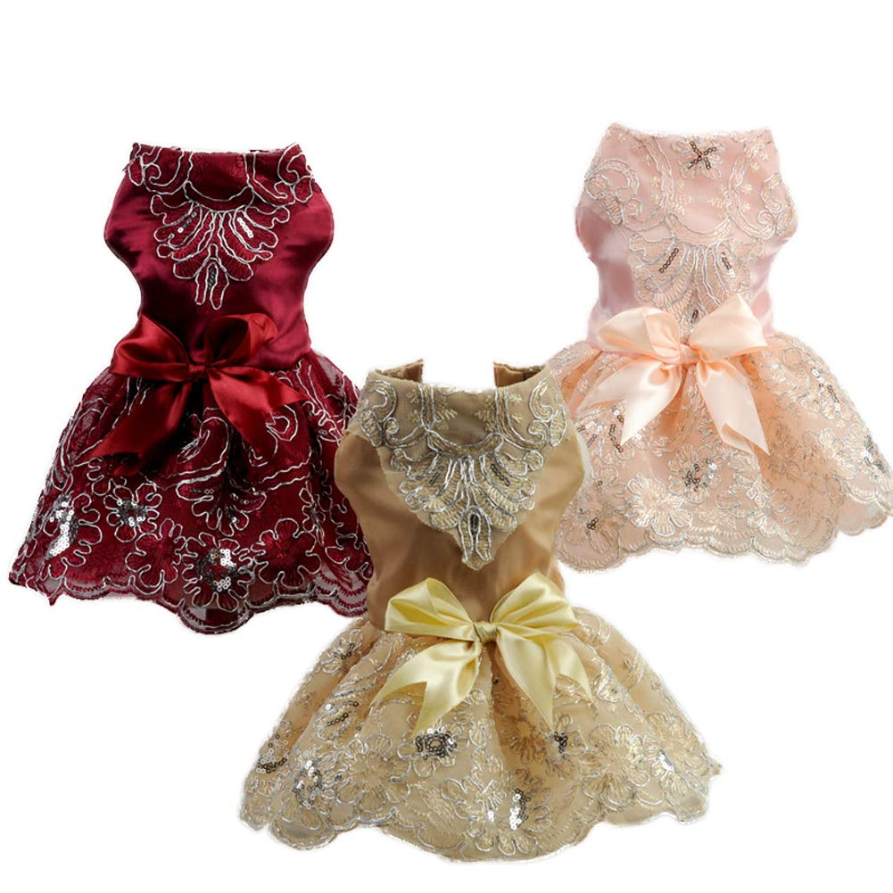 NACOCO Dog Lace Wedding Dress Tutu Skirt Puppy Cat Floral Princess Dress Pet Birthday Party Costume for Spring Summer