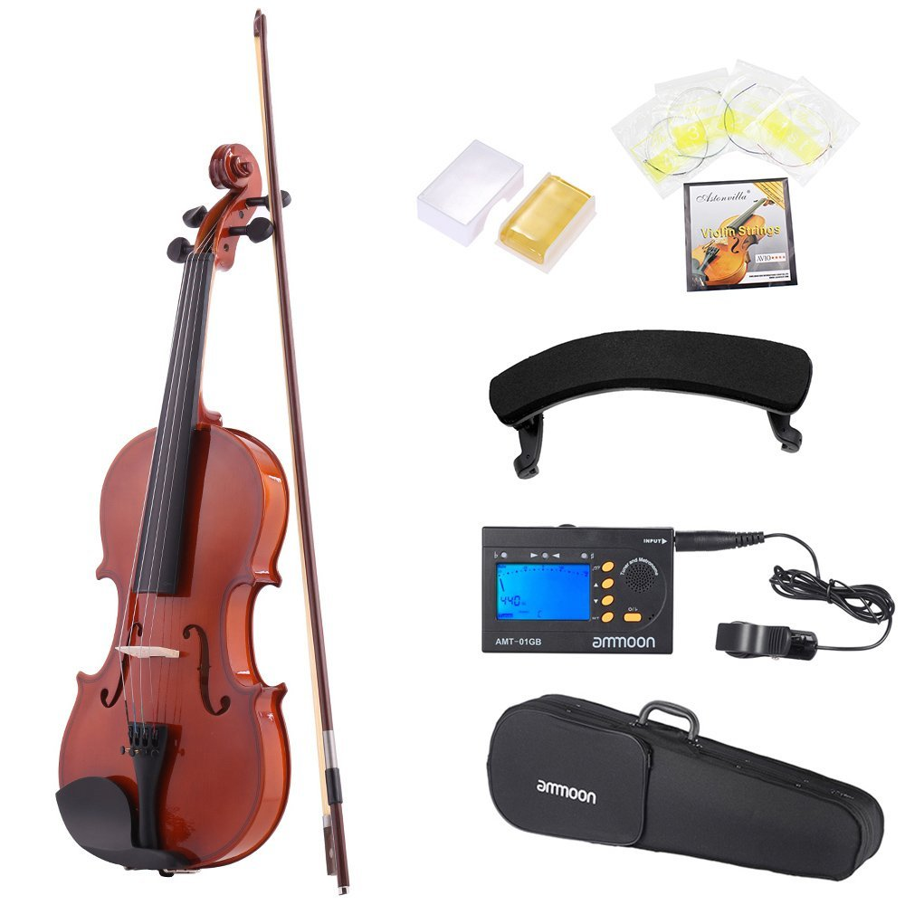 ammoon 1/2 Natural Acoustic Violin Fiddle Spruce Steel String with Case Arbor Bow for Music Lovers Beginners + 3in1 Digital Tuner + Metronome + 4pcs A Set of Violin Strings + Violin Shoulder Rest 1 2 violin