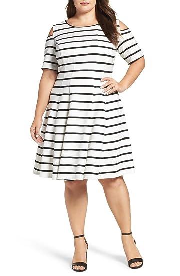 Julian Taylor Women\'s Plus Size Cold Shoulder Stripe Fit ...
