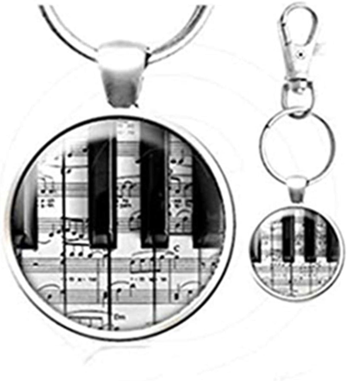 Adornos de Cristal c/úpula Llavero de Arte Hecho a Mano Heng Yuan Cheng Piano con Hoja cl/ásica de m/úsica Llavero de superposici/ón