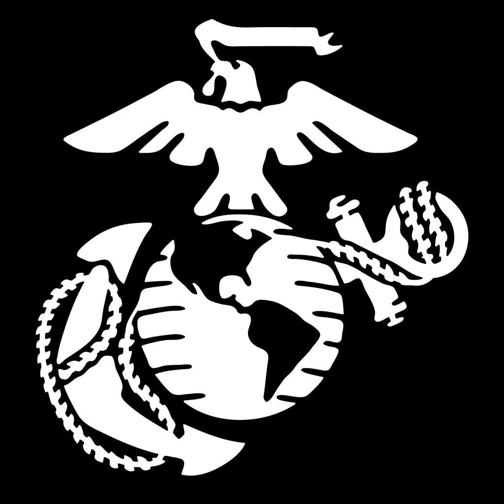 Marine Corps Emblem Vinyl Decal Sticker | Cars Trucks Vans Walls Laptops Cups | White | 5.5 X 5.2 Inch | KCD1730