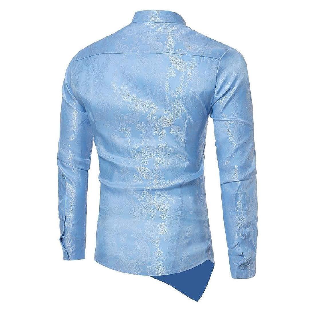 YUNY Men Button-Down-Shirts Floral Design Woven Elegant Shirts Light Blue S
