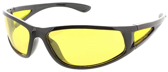 5824075e5a Polarized Yellow Lens Anti Glare Night Driving Glasses Wraparound Gloss  Black Frame Polycarbonate Shatterproof 100%