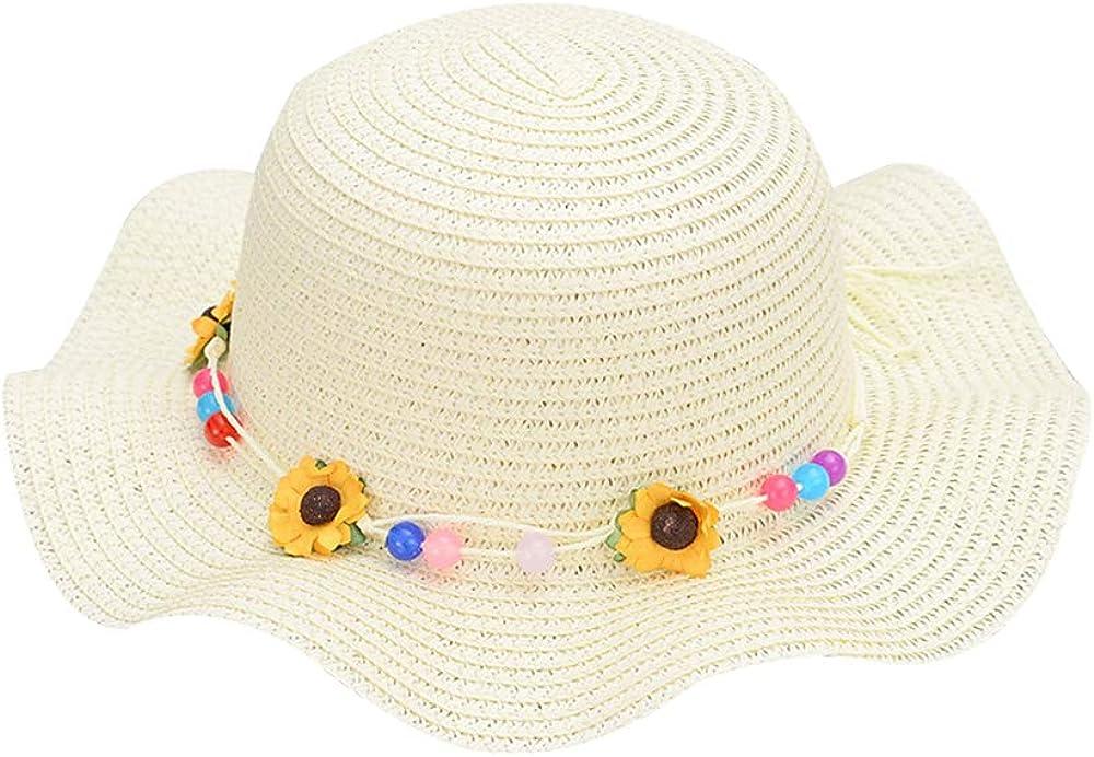 White QTKJ Girls Boys Anti-UV Sun Straw Hat Wide Brim Sunflower Beach Hat with Multi-Colors Beads Decorative Summer Cap